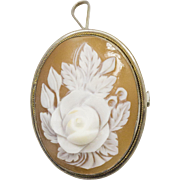 Vintage Silver and Gold Rose Cameo Pendant Pin Brooch