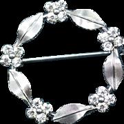 Krementz Silver Tone and Crystal Wreath Pin Brooch