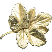 Gold Plated Fall Leaf Pin Brooch