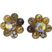 Vintage Faux Pearl and Aurora Borealis Crystal Clip Earrings