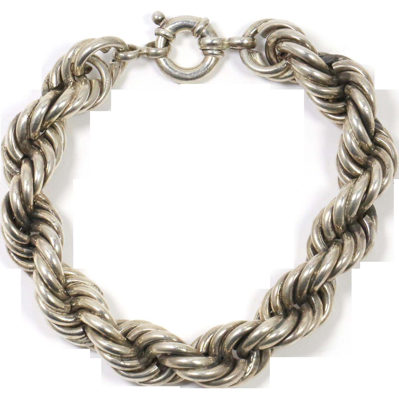 "Silver Rope Bracelet: Vintage Sterling Silver Heavy Rope Bracelet 8"" From The"