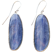 Artisan Natural Blue Kyanite Hammered Drop Dangle Earrings 18K White Gold