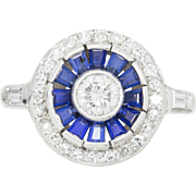 1.03ctw Vintage Art Deco Diamond and Sapphire Ring in 14K White Gold