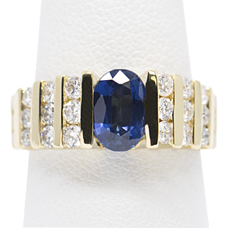 Blue Sapphire and Diamond Band Ring 18k