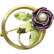 Vintage Gold Plated Pearl and Purple Enamel Flower Pin Brooch