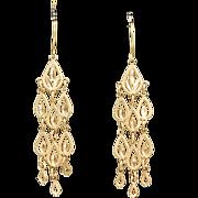 Vintage Lotus Dangle Earrings 14k Yellow Gold