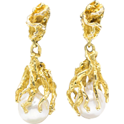 Akoya Pearl Drop Dangle Bark Textured Earrings 14k Yellow Gold