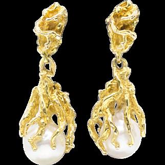 Akoya Pearl Drop Dangle Bark Textured Earrings 14k Yellow Gold