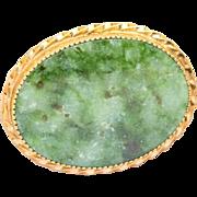 Vintage Signed Bojar 12k Filled Jade Brooch