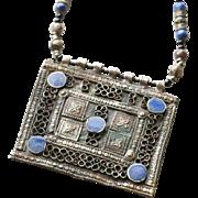 Vintage Moroccan Berber Silver and Enamel Pendant Necklace