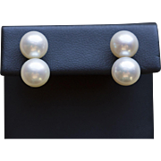 Vintage Double Akoya Pearl White Gold 14K Screw-back Earrings