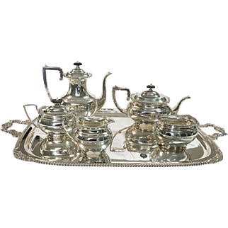Lord Robert 5 pc. Sterling Silver Tea Set Plus Serving Tray