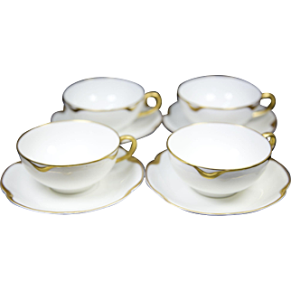 Haviland Limoges Silver Anniversary Tea Cups and Saucers (set of 4)