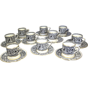 Wedgwood China Florentine Black & Gold Bond Demitasse Cups & Saucers (Set of 10)