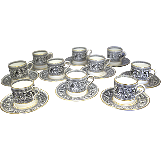 Wedgwood China Florentine Black & Gold Demitasse Cups & Saucers (Set of 10)