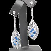 Blue Topaz and Diamond Dangle Swirl Cage Earrings White Gold 14k 11.3g