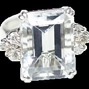 Vintage Retro Aquamarine and Diamond 14k White Gold Ring Size 6.25