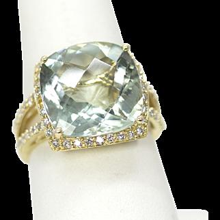 EFFY 9.60ctw Prasiolite Green Amethyst & Diamond 14k Size 7.25 NWOT