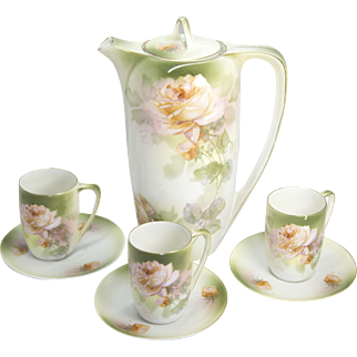 R S Germany Hand Painted Porcelain Rose Pitcher with Cups and Saucers