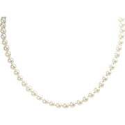 """5.5mm to 6mm Cultured Pearl Necklace 14k White Gold 15.5"""""""
