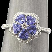 RICH 1.50ctw Tanzanite and Diamond Flower Design 14k White Gold Ring Size 6.75