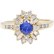 1.50ctw Natural Blue Sapphire and Diamond 14k Yellow Gold Ring