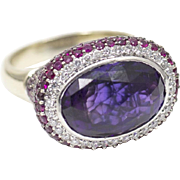 11.05ctw 18k Ruby, Diamond, and Amethyst Ring in White Gold