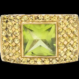 3.12ctw 18k Peridot and Yellow Sapphire Ring