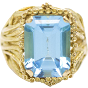 14.58ctw 18k Blue Topaz Yellow Gold Ring