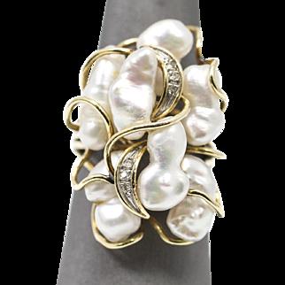 14k Biwa Pearl and Diamond Accent Ring in Yellow Gold