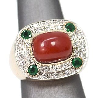 .96ctw 18k Coral, Emerald, and Diamond Ring in White and Yellow Gold