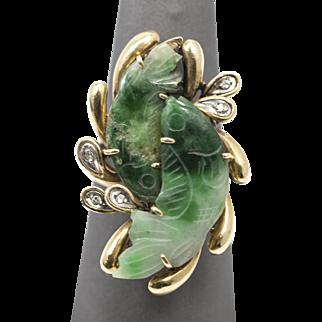 14k Green Jadeite Diamond Ring in Yellow Gold