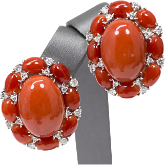 18k Red Coral and Diamond Earrings in White Gold