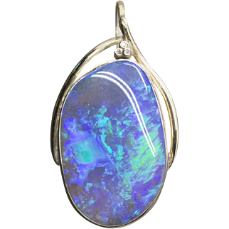 Crystal Opal and Diamond Pendant in Yellow Gold