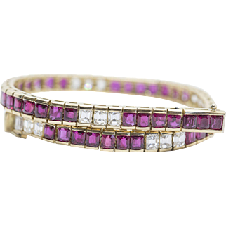 12.08ctw 18k Ruby and Diamond Bracelet in Yellow Gold