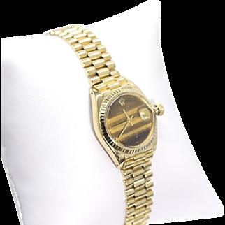 18k President Datejust Rolex Watch in Yellow Gold