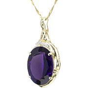 25ct. Rich Purple Amethyst and Diamond Accent Pendant
