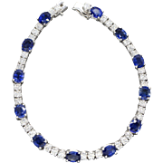 8.80ctw Natural Blue Sapphire and Diamond Tennis Line Bracelet in 18k White Gold