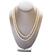 Vintage 8mm Akoya Cultured Pearl Necklace with Diamond Clasp in 14k 45""