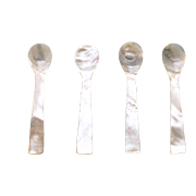 "Antique Set of 4 PCs. X 5.5"" Mother of Pearl Caviar Sea Shell Spoons Handmade"