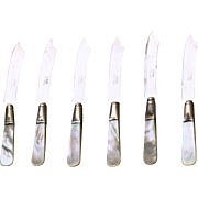 Antique Set of 6 Sheffield Mother-of-Pearl Sterling and Stainless Cheese Knives
