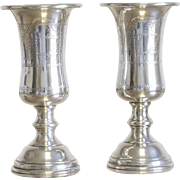Pair of Sterling Silver Curved Kiddush Cups Judaica