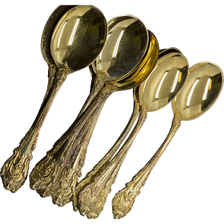Wallace Sir Christopher Gold Vermeil Sterling Silver Soup Spoons