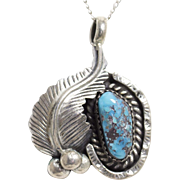 Vintage Native American Southwestern Sterling Silver and Turquoise Necklace