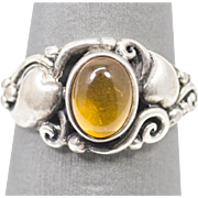 Natural Amber Art Nouveau Style Ring Sterling Silver