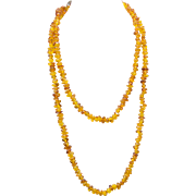 "Natural Amber Polished Bead Strand Infinity Necklace 46"" 48.5g"