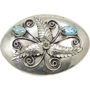 James Reid (JR)) Southwestern Sterling Silver and Turquoise Belt Buckle