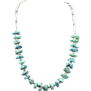"""Vintage Turquoise Nugget and Sterling Silver Necklace 20"""""""