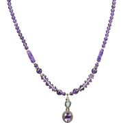 Handmade Purple Amethyst Bead and Opal Necklace Sterling Silver 15""