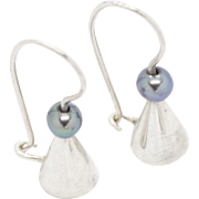 Black Peacock Pearl Sterling Silver Cone Earrings from TWIST